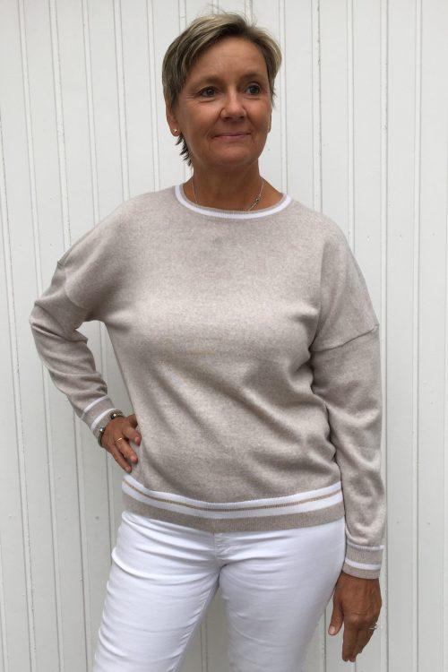Beige med hvite striper merino genser Stenstrøms - 450034 6596