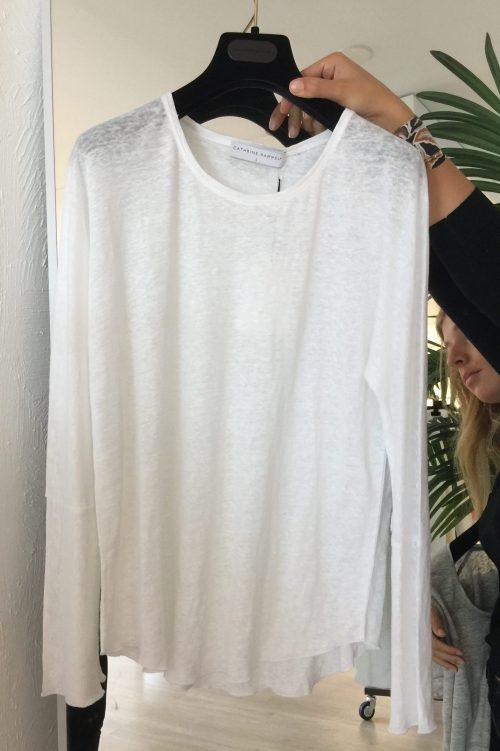 Hvit eller koksgrå lin long sleeve top Cathrine Hammel - 1182 linnen wide long sleeve