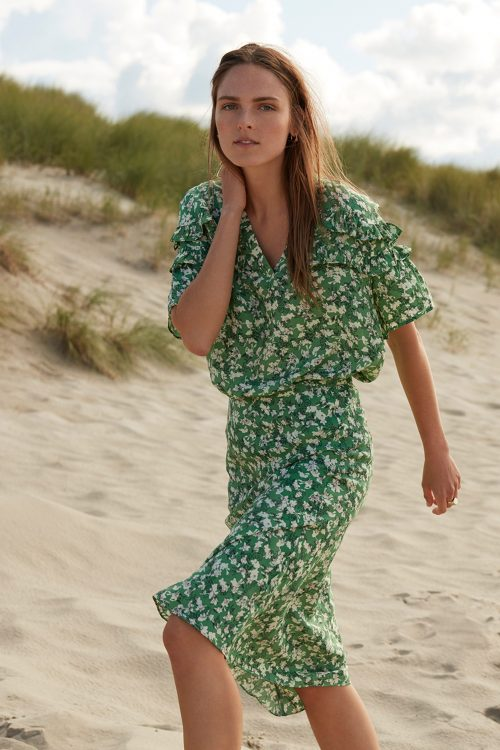 Guccigrønn-mønstret silkemix vippeskjørt Katrin Uri