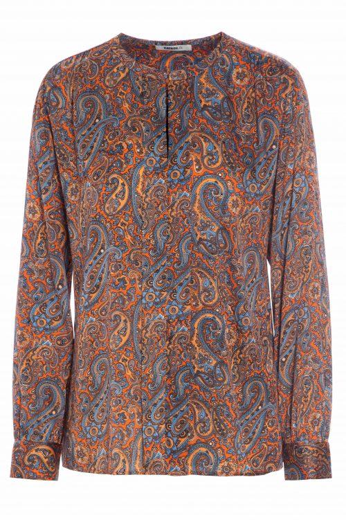 Blåorange paisley silkemix bluse Katrin Uri - 445 paisley pleat blouse