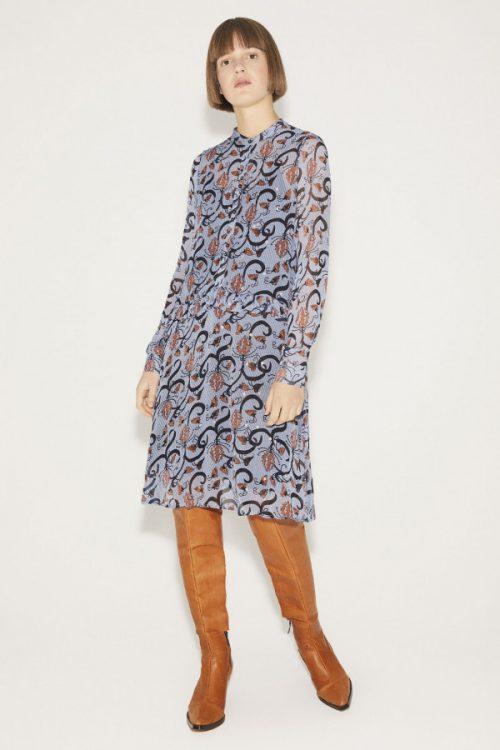 Lyseblå med terrakotta mønster viskose kjole Munthe - alyssa