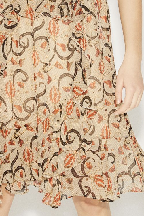 Sandterrakotta-mønstret viskose vippeskjørt Munthe - astonish skirt
