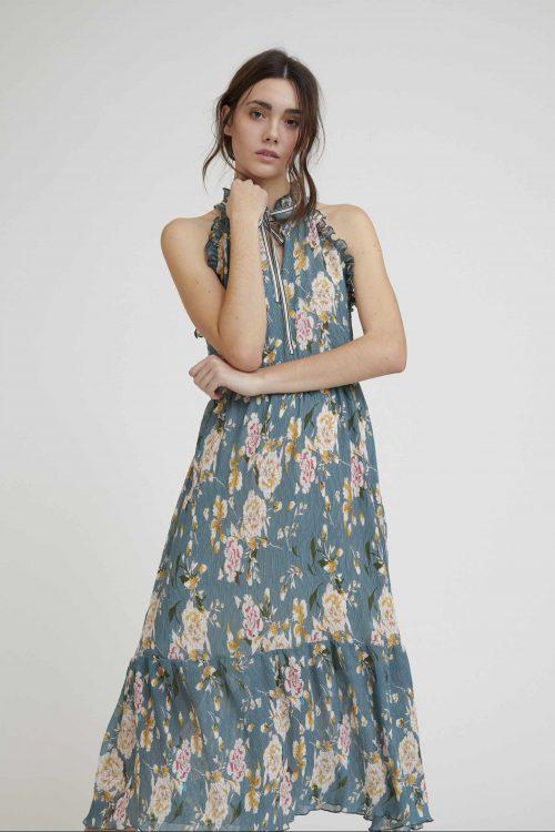 Blågrønnmønstret lang kjole Nekane