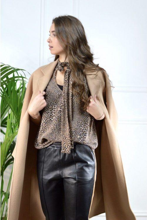 Camel ullkåpe med belte Stand - 60448 claudine coat
