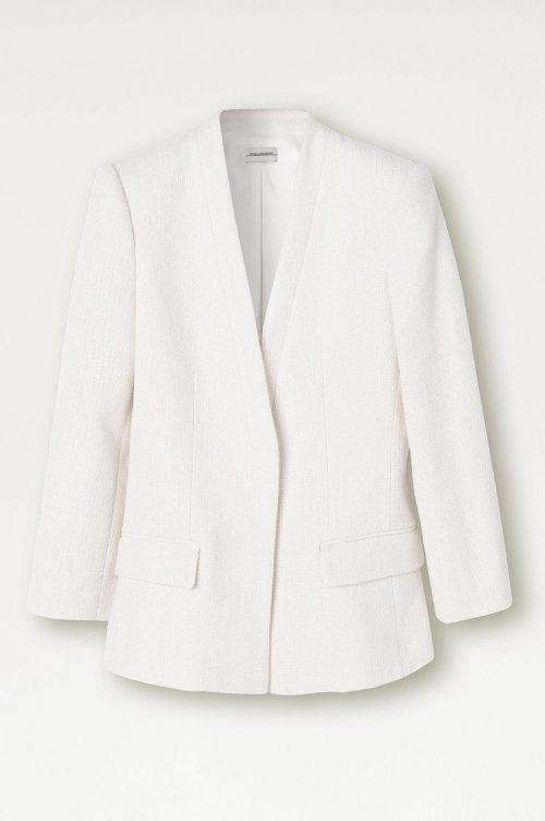 Kremfarget bouclé jakke By Malene Birger - Q64849002 Fargen er mer kremfarget enn på bildet