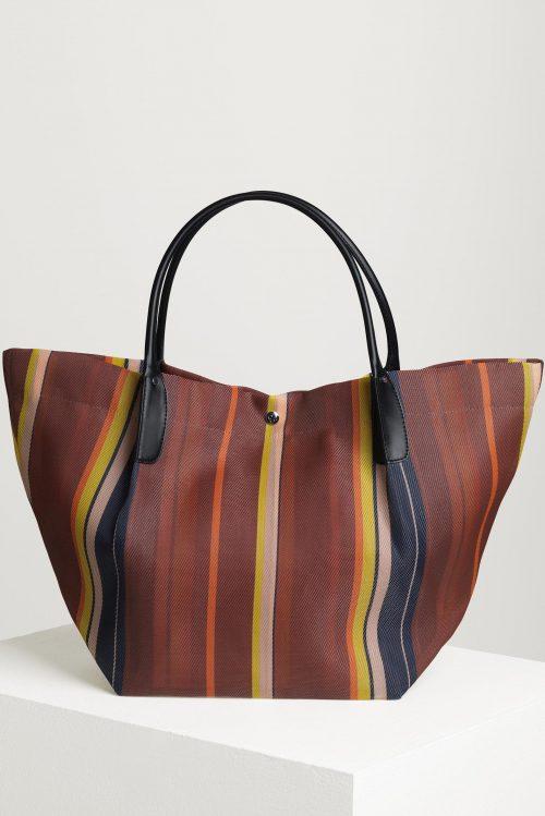Cognacstripet mesh bag By Malene Birger - Q66698001