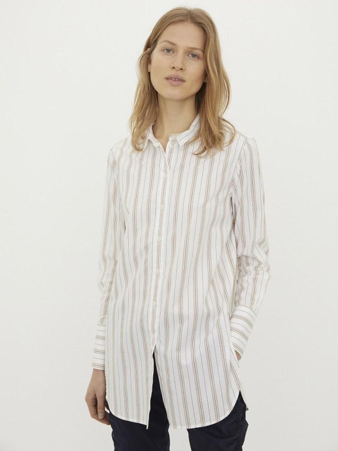 Hvit med terrakotta striper bomull storskjorte By Malene Birger - Q66366002