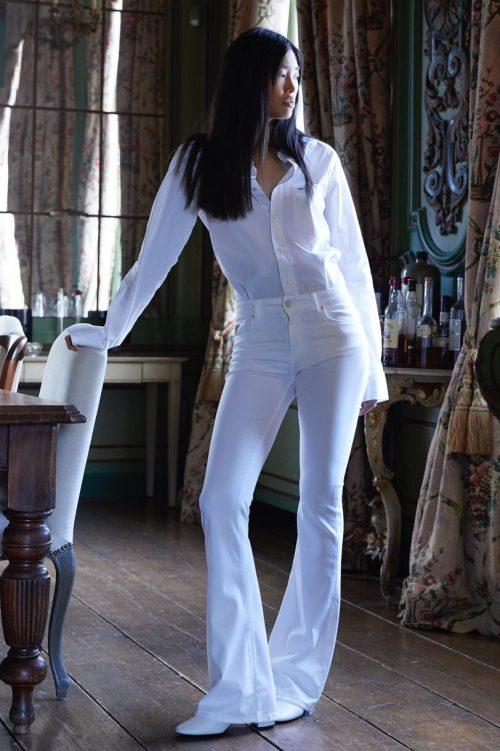Hvit 'Raval' flare viskose bukse Lois Jeans - raval lea lush L32 / L34