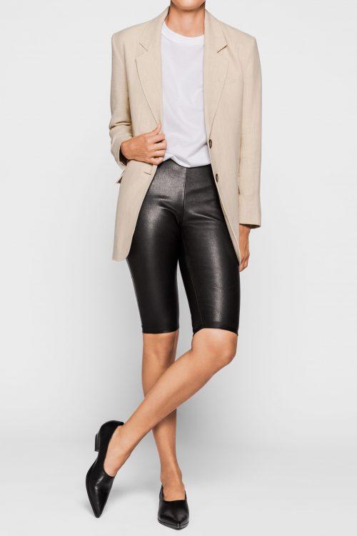 Sort skinn sykkel-shorts One & Other - kim leather shorts