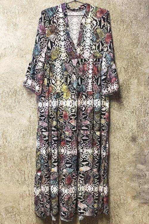 Multicolor snake lang maxi-kjole Bæltekompagniet - Dress-1