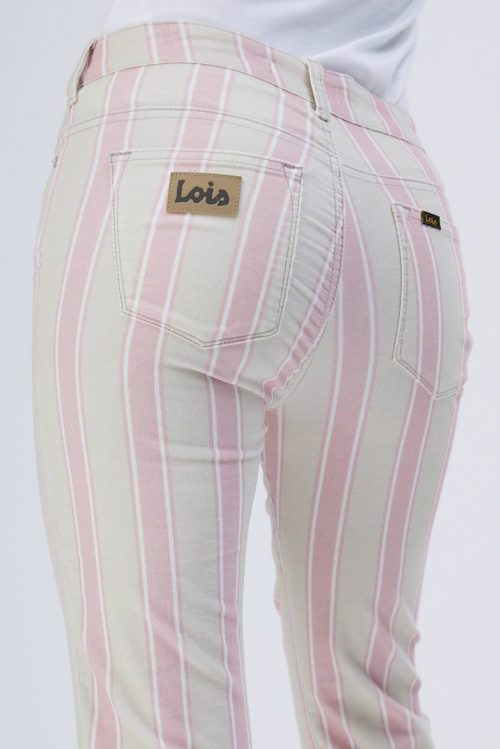 Krem med rosa striper microcord 'Raval' flare bukse Lois Jeans - raval sin 5865 micro cord stripe
