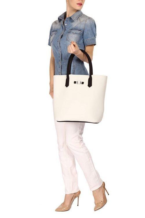 Avorio 'Popstar' shopper Save My Bag - popstar avorio offwhite 320x330x190 mm