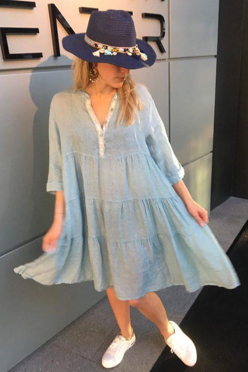 Jeansblå, hvit eller marine lin kjole med pynt Cabana Living - 10294