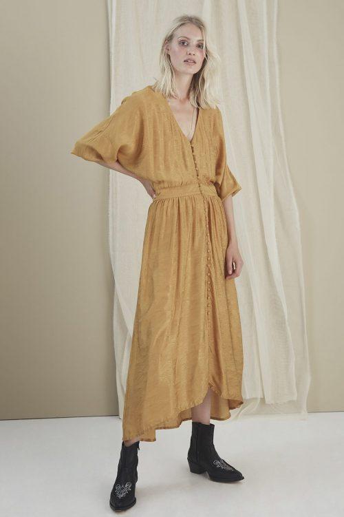 Narcissus yellow lang kjole Gestuz -3292 lilliane gz dress