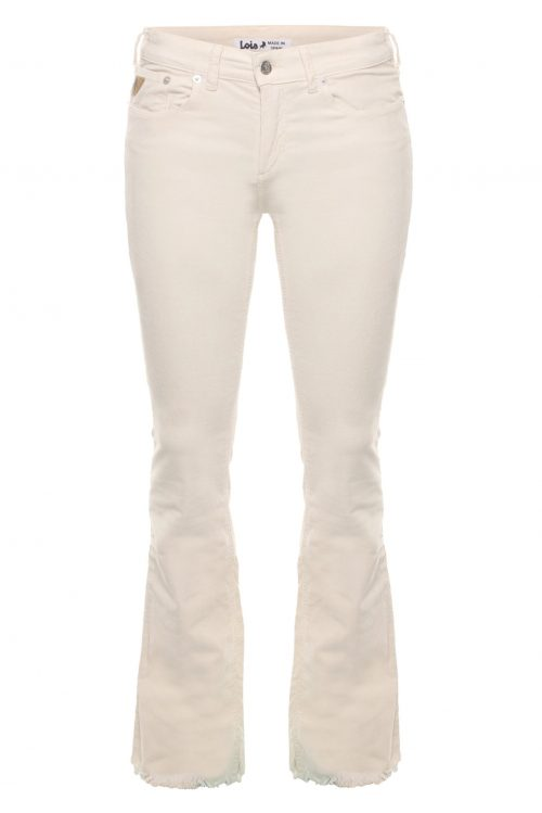 Ecru, lyseblå eller rød microcord flare bukse med råkant Lois Jeans - 2117-5285 Micro rip - Beverly 14 L32 eller L34