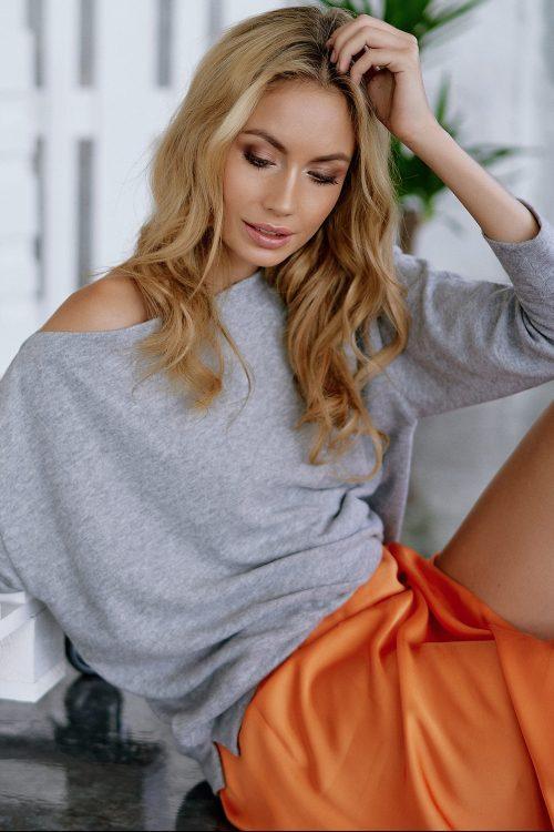 Hvit eller grey melange bom/viskose/pes topp long sleeve Cotton Candy - 1192-T1-04 Gutta