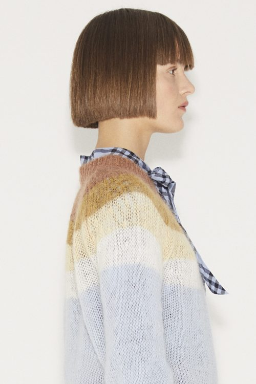 Lyseblå genser med striper Munthe - dinner knit blue