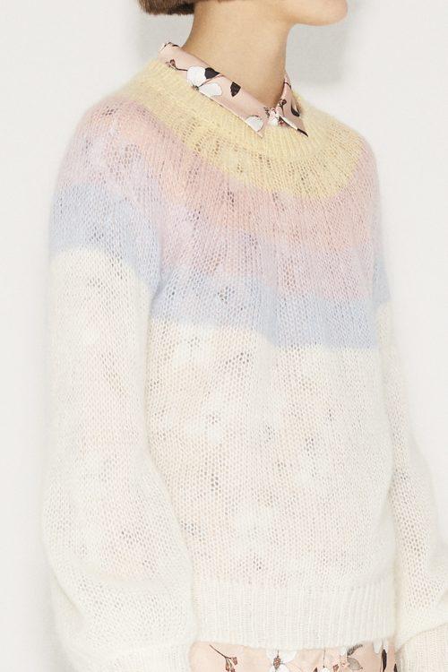 Ivory genser med striper Munthe - dinner knit ivory