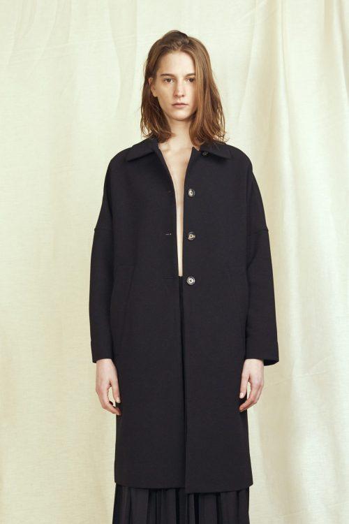 Sort crepe georgette kort frakk Cathrine Hammel - 1422 cocoon overcoat