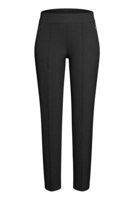 Sort eller muldvarp techno smal bukse med søm i front og glidelås Cambio - 6111 0278-00 rubia 31