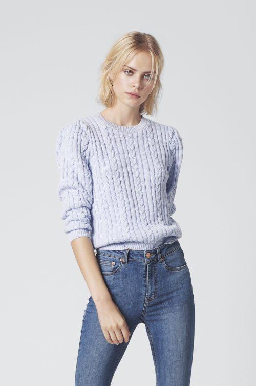 Lyseblå flettet genser i bomull Gestuz - rawan pullover 3733