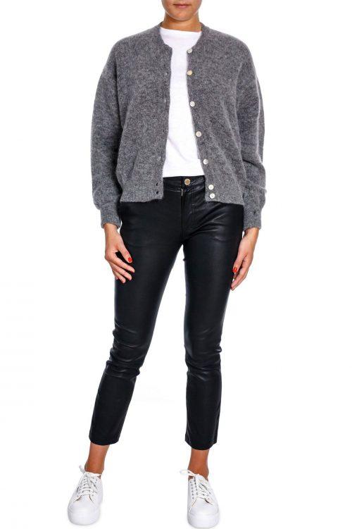 Sand eller grå mohairmiks cardigan med trendy poseerm American Vintage - zabi 255