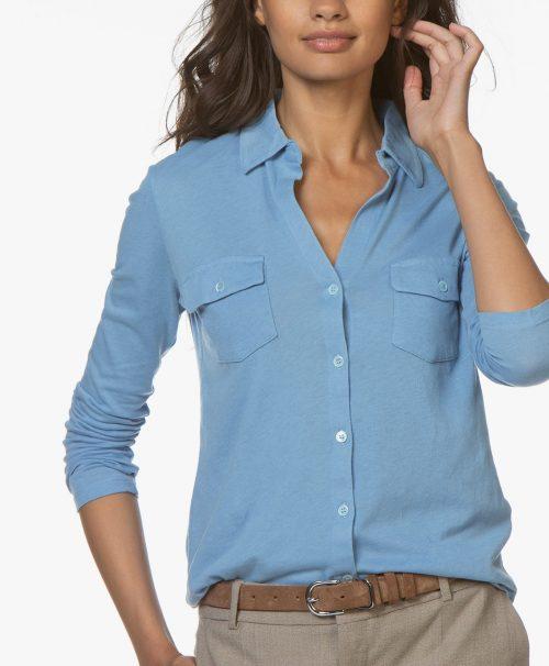 Army (ikke lyseblå) cashmere skjorte Majestic Filatures - m005-fch-005 clara