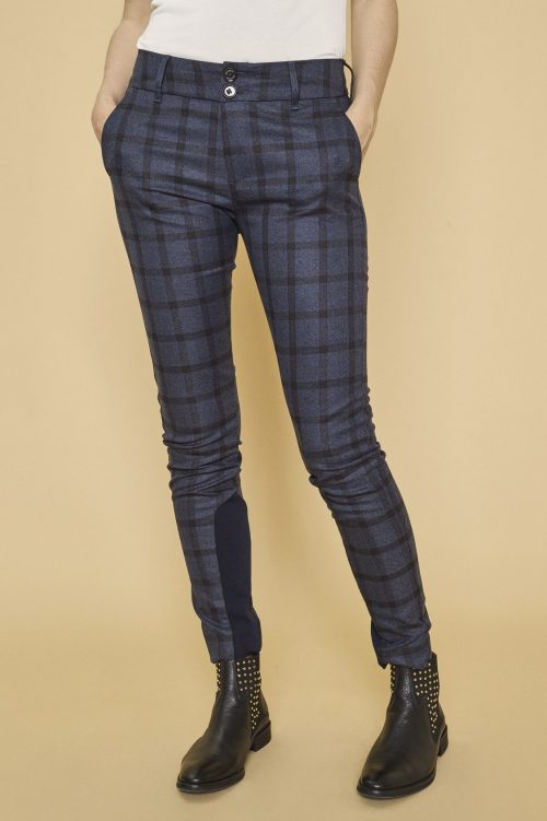 Blåbrun storrutet bukse Mos Mosh - 128611 blake carli pant