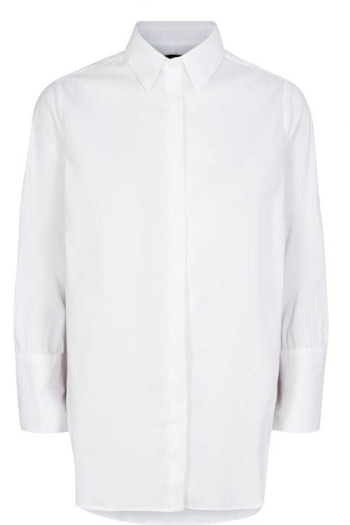 Hvit bomullsskjorte med sortcamel-bånd i siden Mos Mosh - 129050 larina ribbon