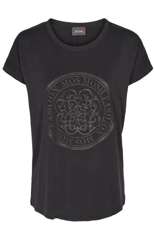 Blå eller sort modal topp med emblem Mos Mosh - 129540 yara o-neck tee