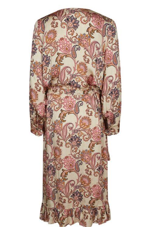 Beige med roser viskose omslagskjole med volanger Mos Mosh - 129873 chita weave dress