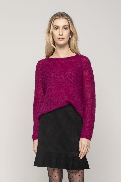 Camel, sort, isblå eller dus rosa tynnstrikket mohair genser Dear Dharma - new maddy