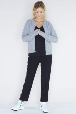 Grey melange, sort eller dark blue melange alpakkamix cardigan Samsøe - 6355 nor short cardigan