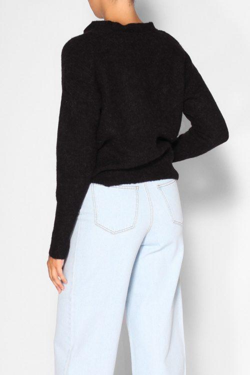 Sort alpakka/ull genser med sløyfe Gestuz - nela pullover 3748