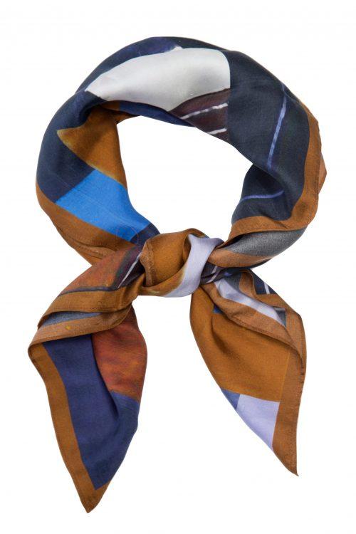 Kanelblårutet silke skjerf Katrin Uri - 931