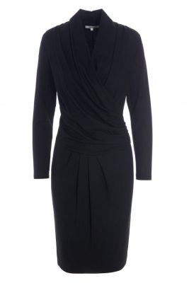 Sort jersey viskose kjole med drapering og v-hals Katrin Uri - 612 adams draped dress