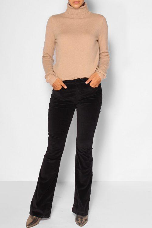 Sort eller beige velour flare bukse Lois Jeans - raval 2007-5978 new velvet L32/L34