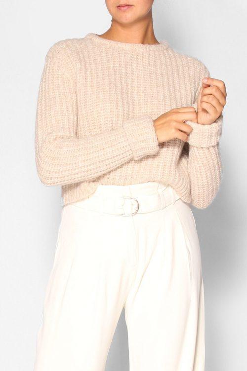 Beige ribbestrikket alpakka/merino kort genser med oppbrett på erm American Vintage - piu 280