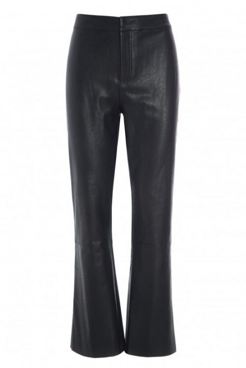 Sort faux leather kick flare 'skinn'bukse Katrin Uri - 119 bond bootcut trouser