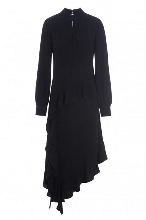 Sort viskose lang skråkuttet kjole med splitt Katrin Uri - 630 mette night dress