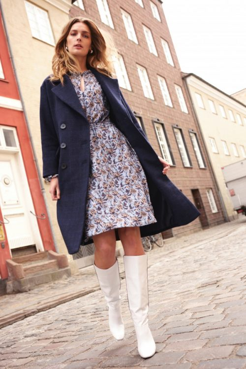 Blue moon rutet ull kåpe Katrin Uri - 508 stockholm db coat