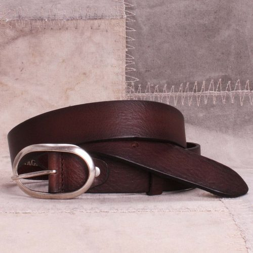 Sort, brunt eller blått belte med oval spenne Bæltekompagniet - 2007