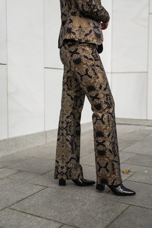 Rålekker og supertrendy party bukse med gullbrokade Mos Mosh - 130704 Ivana Miramare Long Pant