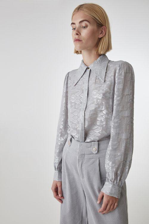 Sølvfarget skjorte Gestuz - sira skirt 10904105