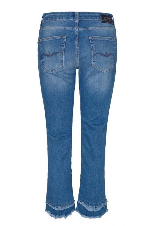 Denim kick flare jeans med påsydd kant Mos Mosh - 131340 kelsey kick jeans Ecru poplin skjorte med striper i siden Mos Mos - 131840 larina tape shirt
