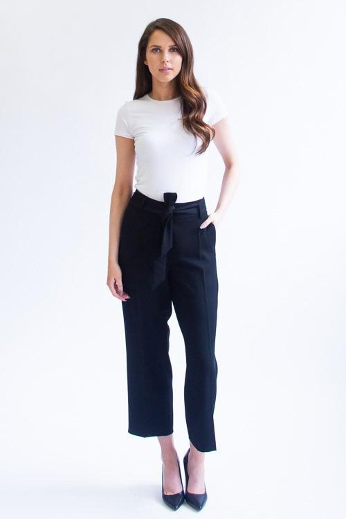 Sort culotte creppe bukse med belte Cambio - 6030 0215-03 claire 25