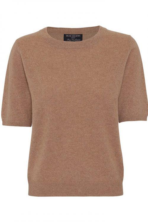Camel eller broken white cashmere topp med kort term Dear Dharma - marthe cashmere