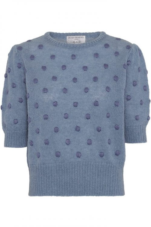 Denim blue genser med kort erm og trendy dots Dear Dharma - tee dot