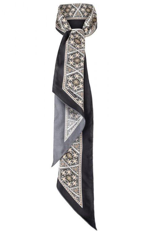 Geometrisk mønstret silkeskjerf Framhus - Joni black