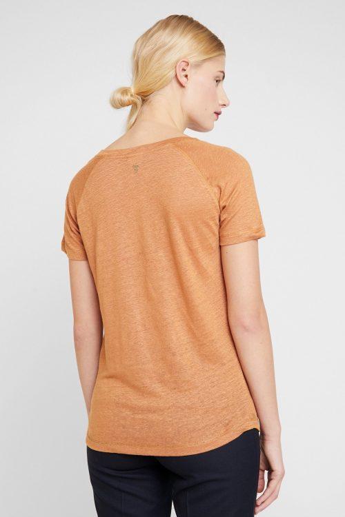 Cognac, rosa eller ecru 100% lin t-shirt med glitterpynt Mos Mosh – 131300 mag linnen tee